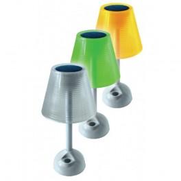 lampe solaire de table verte, orange ou transparente