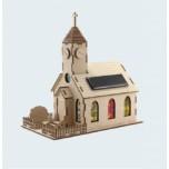 Jouet solaire bois, église solaire en bois.